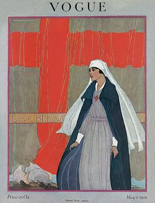 1918 Photograph - Vogue Cover Featuring A Nurse by Porter Woodruff