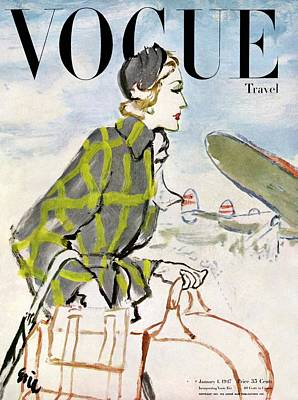Hat Photograph - Vogue Cover Featuring A Woman Carrying Luggage by Carl Oscar August Erickson