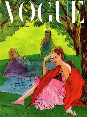 Vogue Cover Featuring A Woman Having A Picnic Art Print by Rene R. Bouche