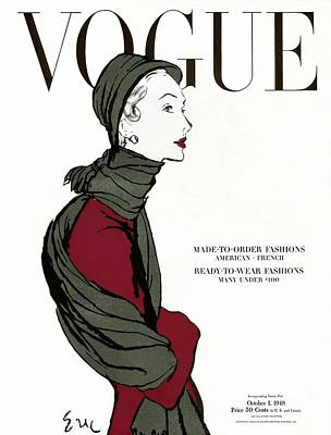 Oscar Photograph - Vogue Cover Featuring A Woman In A Grey Scarf by Carl Oscar August Erickson