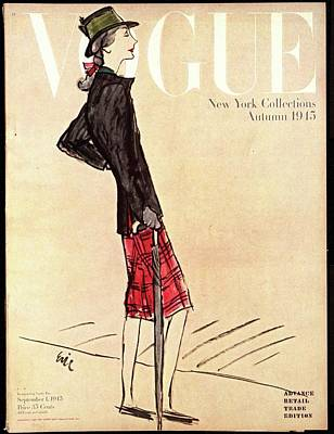 Vogue Cover Featuring A Woman In A Plaid Skirt Print by Carl Eric Erickson
