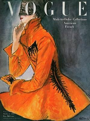 Fashion Photograph - Vogue Cover Featuring A Woman In An Orange Coat by Rene R. Bouche