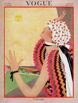 Fashion Photograph - Vogue Cover Featuring A Woman Looking At The Sun by George Wolfe Plank