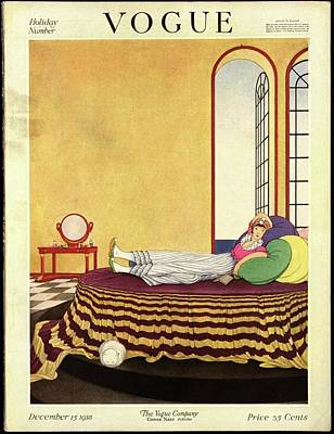 Vogue Cover Featuring A Woman Lying In Bed Art Print by George Wolfe Plank