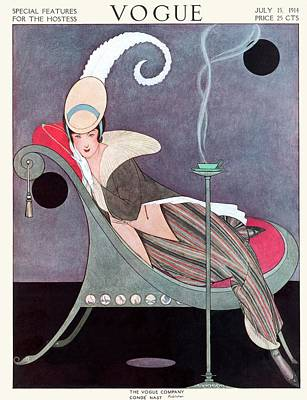 1914 Photograph - Vogue Cover Featuring A Woman Sitting In A Chair by Helen Dryden