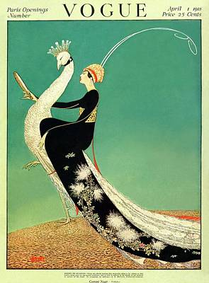 Fashion Photograph - Vogue Cover Featuring A Woman Sitting On A Giant by George Wolfe Plank