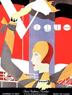 Cloche Photograph - Vogue Cover Featuring A Woman Waving by Eduardo Garcia Benito