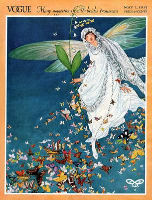 Flying Angel Photograph - Vogue Cover Featuring A Woman Wearing A Bridal by George Wolfe Plank