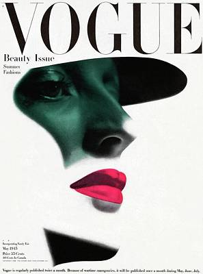 Headgear Photograph - Vogue Cover Featuring A Woman's Face by Erwin Blumenfeld