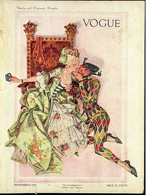 Jester Photograph - Vogue Cover Featuring An Eighteenth Century by Frank X. Leyendecker