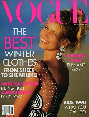 1990 Photograph - Vogue Cover Featuring Claudia Schiffer by Patrick Demarchelier