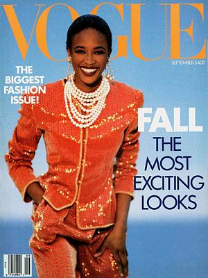 Earrings Photograph - Vogue Cover Featuring Naomi Campbell by Patrick Demarchelier