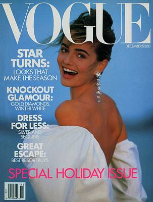 Puffed Sleeves Photograph - Vogue Cover Featuring Paulina Porizkova by Patrick Demarchelier