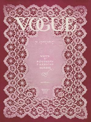 Lace Photograph - Vogue Cover Featuring Pink Lace by  Unknown