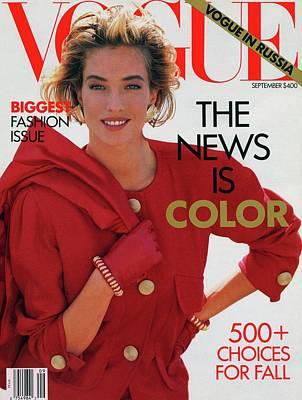 1990 Photograph - Vogue Cover Featuring Tatjana Patitz by Patrick Demarchelier