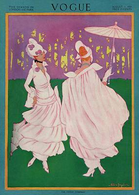 Vogue Cover Featuring Two Women In Pink Gowns Art Print by Helen Dryden