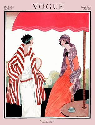 Umbrella Photograph - Vogue Cover Featuring Two Women Under A Patio by Helen Dryden