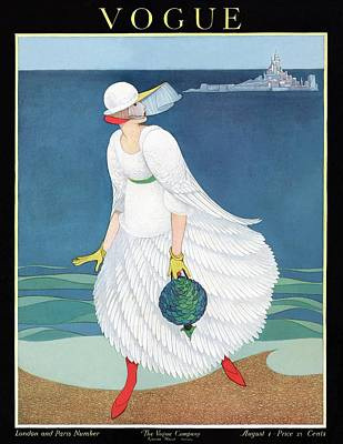 Vogue Cover Featuring Woman At A Beach Art Print by George Wolfe Plank