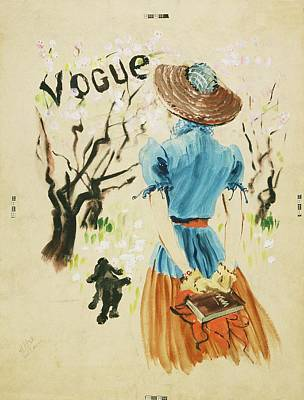 Dogs Digital Art - Vogue Cover Featuring Woman Walking by Rene Bouet-Willaumez