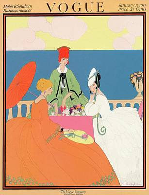 Vogue Cover Featuring Women Dining By The Seaside Art Print by Helen Dryden