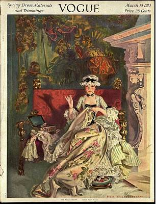 Vogue Cover Illustration Of A 18th Century French Art Print by Frank X. Leyendecker