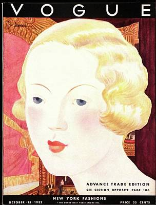 Wavy Hair Photograph - Vogue Cover Illustration Of A Blond Woman by Georges Lepape