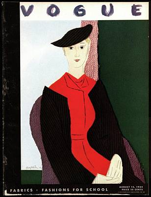 Vogue Cover Illustration Of A Blond Woman In Red Art Print by R.S. Grafstrom