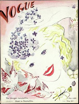 Wavy Hair Photograph - Vogue Cover Illustration Of A Blonde Woman by Marcel Vertes
