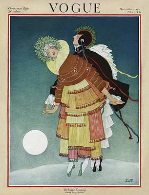 Winter Photograph - Vogue Cover Illustration Of A Couple Dancing by George Wolfe Plank