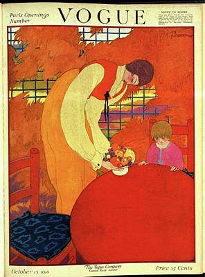 Autumn Photograph - Vogue Cover Illustration Of A Mother And Son by Georges Lepape