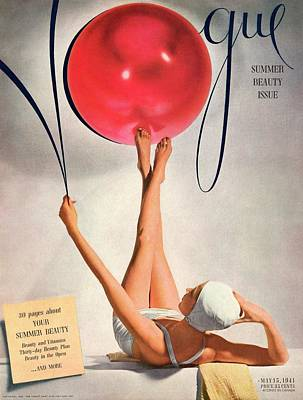 Young Adult Photograph - Vogue Cover Illustration Of A Woman Balancing by Horst P Horst