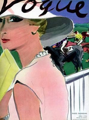 Horse Racing Photograph - Vogue Cover Illustration Of A Woman by Carl Oscar August Erickson