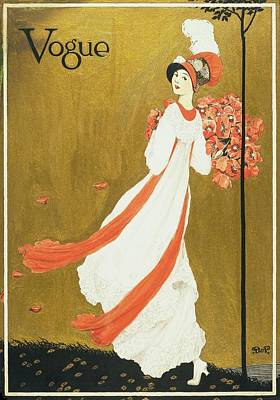 Vogue Cover Illustration Of A Woman Carrying Art Print by George Wolfe Plank