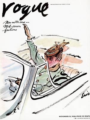 Fashion Photograph - Vogue Cover Illustration Of A Woman Driving A Car by Carl Oscar August Erickson
