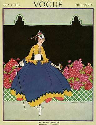 Blue Dress Photograph - Vogue Cover Illustration Of A Woman Holding by Margaret B. Bull