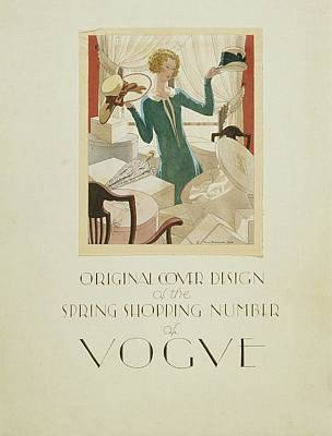Vogue Cover Illustration Of A Woman Holding Two Art Print by Pierre Brissaud