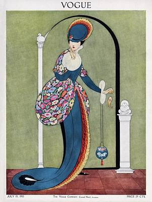 Vogue Cover Illustration Of A Woman In A Blue Art Print by George Wolfe Plank