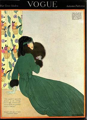 Winter Photograph - Vogue Cover Illustration Of A Woman In A Green by Helen Dryden