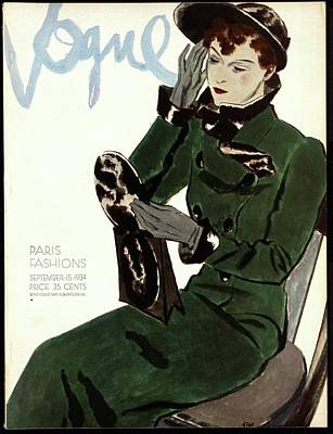 Clutch Bag Photograph - Vogue Cover Illustration Of A Woman In A Green by Pierre Mourgue