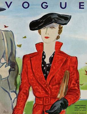 Vogue Cover Illustration Of A Woman In A Red Coat Art Print