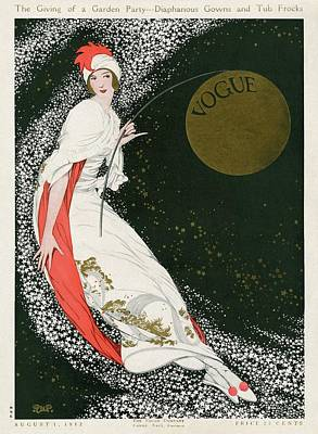 Vogue Cover Illustration Of A Woman In A White Art Print by George Wolfe Plank