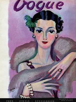 Red Nail Polish Photograph - Vogue Cover Illustration Of A Woman In Evening by Eduardo Garcia Benito
