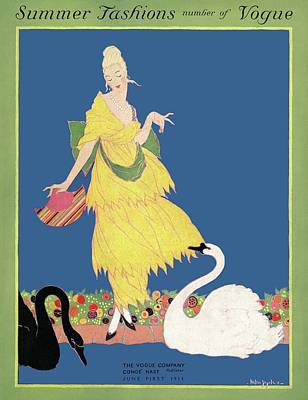Evening Gown Photograph - Vogue Cover Illustration Of A Woman Looking by Helen Dryden