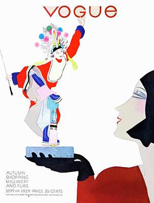 Photograph - Vogue Cover Illustration Of A Woman Looking by Pierre Mourgue