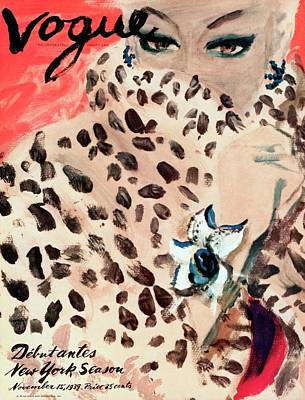 Leopard Photograph - Vogue Cover Illustration Of A Woman Peering by Carl Oscar August Erickson