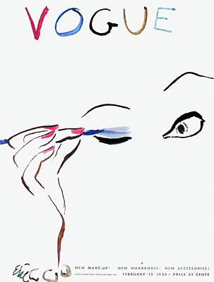 Eyes Photograph - Vogue Cover Illustration Of A Woman Putting by Carl Oscar August Erickson