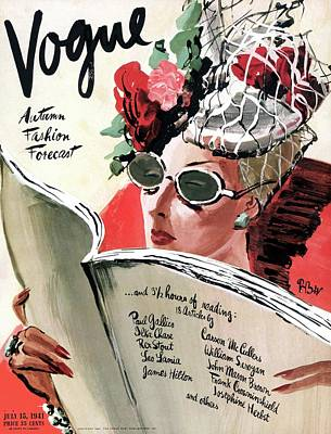 Red Nail Polish Photograph - Vogue Cover Illustration Of A Woman Reading by Rene Bouet-Willaumez