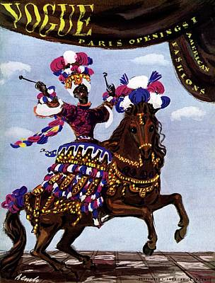 Vogue Cover Illustration Of A Woman Riding A Horse Art Print by Eduardo Garcia Benito