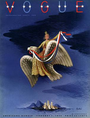 Night Photograph - Vogue Cover Of Woman Riding An American Eagle by Victor Bobritsky