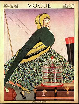 Vogue Cover Of A Woman Walking On Ship Art Print by George Wolfe Plank